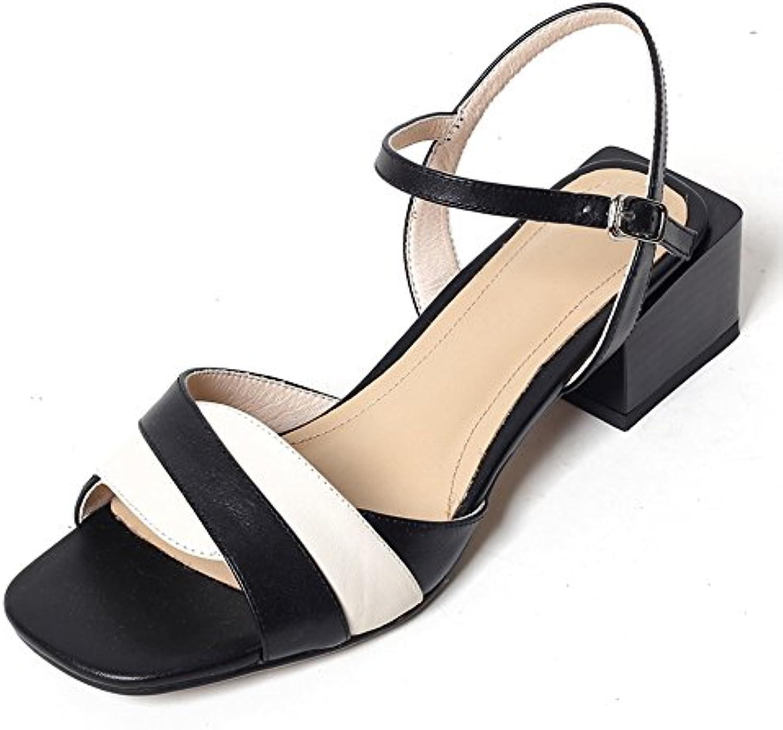 cy Damen Sommer Colorblocked Open Toe Sandalen Knöchelriemen Schnalle Aus Echtem Leder Midheeled Heel Damenschuheö