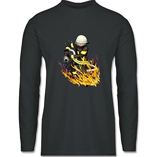 Shirtracer Feuerwehr - Cooler Feuerwehrmann - Herren Langarmshirt Dunkelgrau