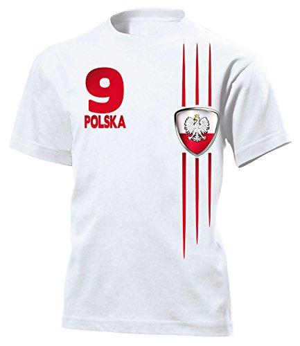 Polen Fan Streifen 3213 Fussball Kinder Kids Jungen Mädchen Unisex Fanshirt Shirt Tshirt Fanartikel Artikel T-Shirts Weiss 152