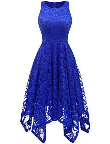 bridesmay Damen Elegant Spitzenkleid Knielang unregelmäßig Zipfel Kleid Cocktailkleid Abendkleider Royal Blue S - 40er Jahre Dessous