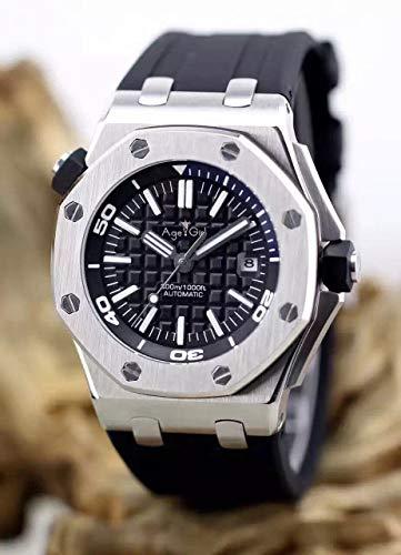 WDXDP Uhr Top Neue Luxusmarke Männer Edelstahl Automatische Mechanische Uhr Taucher Saphir Sportuhren Schwarz Gummi Rose Gold Silber 2