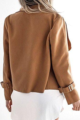 Le Donne Si Apre Davanti Solido Cardigan Outercoat Impermeabile Invernale Sopra Camel