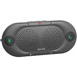 Besign BK06 Kit-Voiture Mains Libres Bluetooth pour Voiture sur Pare-Soleil, Support du GPS, Kit Mains-Libres et Enceinte sans Fil pour Smartphones, 2X2W de Puissance, Auto Allumage-Extinction