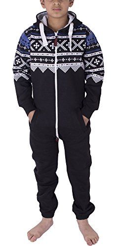 en Jungs Halloween Skelett Fleece Onesie Jumpsuit mit Kapuze 7-13 Jahre (11/12 Jahre, Aztec Black) (Halloween Skelett Sweatshirt)
