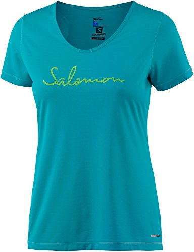 Salomon Mazy Graphic SS W Shirt, Damen S Blau (blauer Vogel) (T-shirt Vögel Graphic)