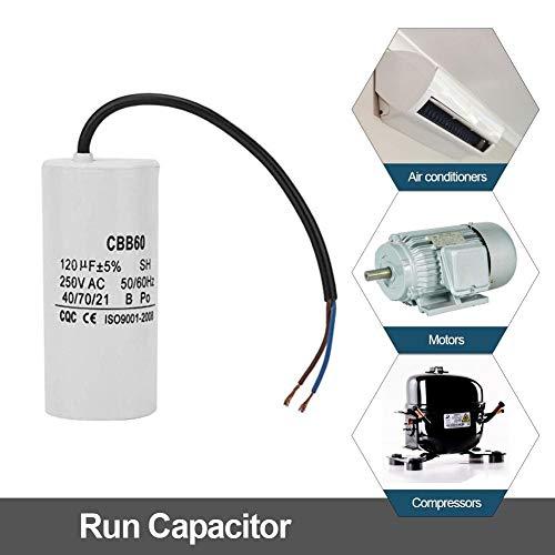 CBB60 Kondensator 250V 120uf,Jectse Betriebskondensator Motorkondensator Anlaufkondensator mit guter Schlagfestigkeit, starke Überlastfähigkeit für Klimaanlagen, Kompressoren und Motoren -
