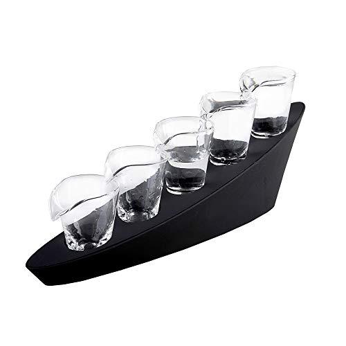 Monsterzeug LED Domino Schnapsgläser - 5er Set, Shot-Gläser mit Beleuchtung und Treppenständer, Leuchtende Trinkgläser, Party-Zubehör