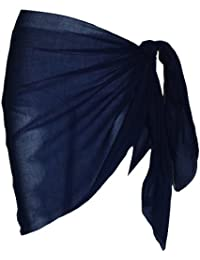 Plain Half Mid Blue Cotton Sarong