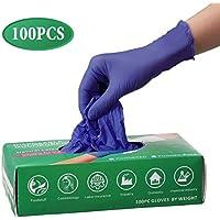 Pumoes Guantes de Nitrilo Desechables, sin látex, sin Polvo Estuche de 100 PCS para el hogar/Limpieza/Lavavajillas/Tatuajes, Cocina/Jardín/Cuidado del cabello/Lavado de autos/Alimentos seguros
