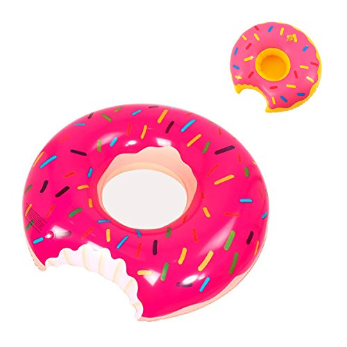 Almond Cy 47 Inch Strawberry Doughnut Pool Float - Inflable Summer Float Toy con Cute Donut Inflable titular de la bebida (Rosa)