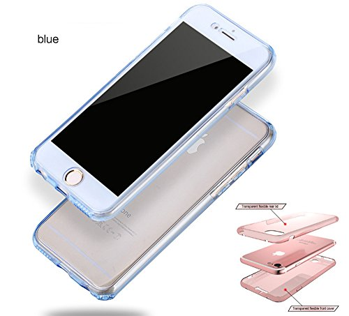 iPhone 6S Case, 2ndSpring Custodia Full Body Apple iPhone 6/6S Fronte Retro Protezione a 360 Gradi Morbido TPU Silicone Cover,Trasparente Blu