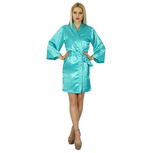 Bimba femmes courte satiné Préparation Robe de demoiselle d'honneur manches kimono Coverup Cyan