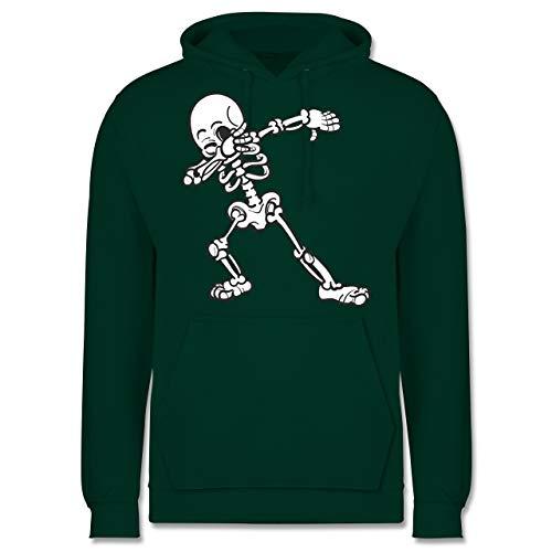 (Shirtracer Halloween - Dabbing Skelett - L - Dunkelgrün - JH001 - Herren Hoodie)