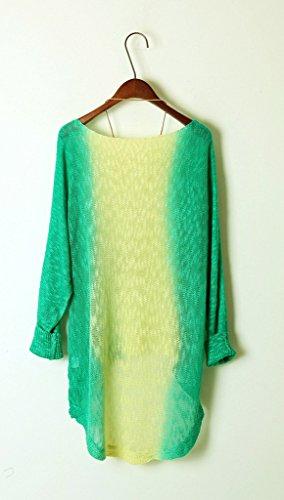 Bigood Femme Tops Couleurs Mélange Rond Col Bat Blouse Sweater Vert Jaune
