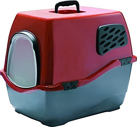 Marchioro 200007 Bill 1F Cat Litter Tray with Roof Red/Black