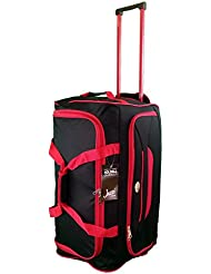 Taille moyenne Sac de voyage 65 L de Voyage valises souples. Noir avec garniture rouge. Bagagerie