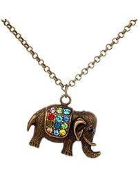 Yaizlind bronce multicolor de cristal Elefante collar de cadena colgante para las mujeres