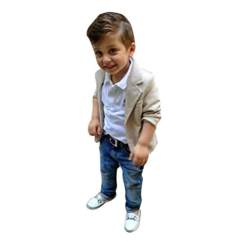 West See 3pcs Kinder Jungen Gentleman Mantel + Hemd + Jeanshosen Kinderkleidung Kleidungsset Suit (130)