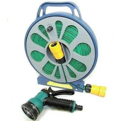 15m Roll Flat Garden Hose Pipe Easy Wind Reel Spray Nozzle Gun Built in Handle Stand Outdoor Plant Flower Watering