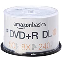 AmazonBasics – DVD+R-DL-Rohlinge, 8,5 GB, 8x, Spindel mit 50 Stück
