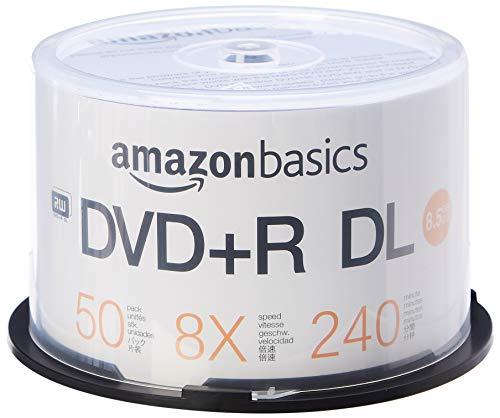 Amazonbasics, confezione di dvd+r dl, da 8,5 gb, velocità 8x, con campana in plastica, 50 pezzi