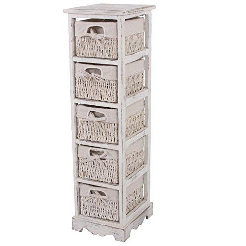 Mendler Regal Kommode mit 5 Korbschubladen 90x25x28cm, Shabby-Look, Vintage ~ weiß (Kommode Mit Regalen)