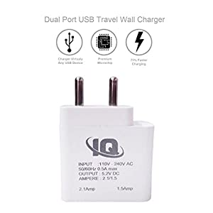 Coolpad Note 3 Charger Dual USB Port 2 A ( 2 Amp,1.5Amp)/ Travel Charger / Mobile Charger With 1 Meter USB Cable -White by Coverkeeda
