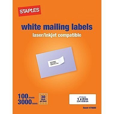 Staples White Mailing Labels for Laser Printers, 1 x 2.62 Inch, 100 Sheets, 3000 Labels, Avery Template 5160/8160 by (Staples Mailing Labels)
