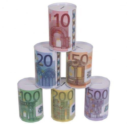 Spardose mit Euro-Motiv, zwei Größen mit je 6 Motiven (große Spardose) (Bunte Euro-schein)