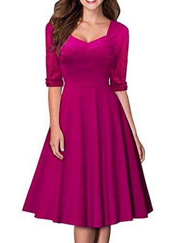 MABELER Damen Elegant Kurzarm Business Rockabilly Cocktailkleid Retro 50er Jahre Party Stretch Kleid (Medium, (Rosa Kleid 50er Jahre)