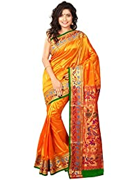 Aruna Fashions Self Design Paithani Art Silk Saree(Gold Color Saree With Green Color Blouse Piece)