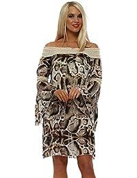 344d4f27ed7 Troiska Animal Print Crochet Bardot Dress