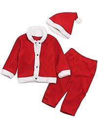 8e5c0b1aacdbc 1-6 Ans Rouge Enfant Bébé Unisexe Ensemble de Vêtement de Père Noël en Coton