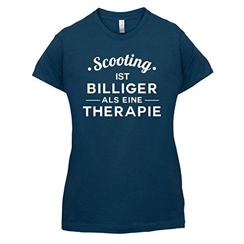 Scooting ist billiger als eine Therapie - Damen T-Shirt - 14 Farben Navy