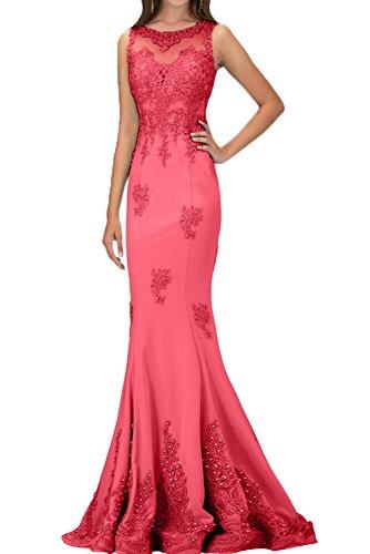 Ivydressing Damen Luxurioes Spitze Applikation Perlen Partykleid Lang  Festkleid Abendkleid Pink