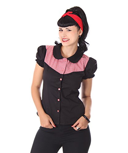 SugarShock Kaja Rockabilly 50er Pin Up retro Gingham Karo Bubikragen Bluse