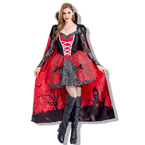 Halloween Kostüm mit Umhang Damen Spitze Langarm Gothic Kostüm Erwachsene Kleider Pirat Hexe Cosplay Dress Kleid Zombie Ghost Kleid Dress Cosplay Kleid Karneval Weihnachten Party Nachtclub Kostüm (Für Erwachsene Fashion Flapper Kostüm Rot)