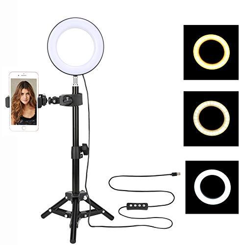 Zomei Ringlicht Ringleuchte LED Handy Dimmbar 6 Zoll Makeup Licht mit Kugelkopf Stativ und Handyhalterung 6W 3000-6000K für YouTube Video Live Licht strömen, Beauty Maniküre Tattoo Salon Beleuchtung
