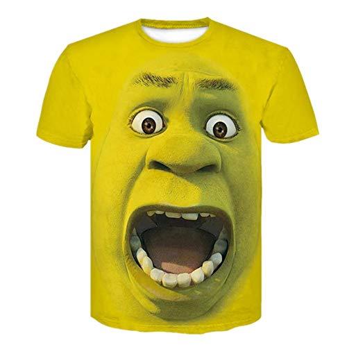 T-Shirt Männer Gedruckt Sommer Film Shrek 3D Digital Paar Kleid Freizeit Lose L Gelb T-Shirts