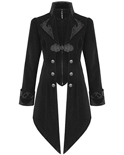Devil Fashion Herren Jacke Coat Schwarz Samt Gothic Steampunk Aristocrat Regency, Schwarz (Tab-kragen-jacke)