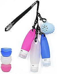 Botellas de Silicona, TSA aprobadas Botellas de Viaje con Cepillo de Limpieza Facial y cordón de Ducha,Champú portátil Acondicionador Botella a Prueba de Fugas para cosméticos (8 Pack) by SANTREST
