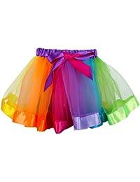 belababy Baby Girls Layered Rainbow Skirt Ruffle Tiered Tulle Tutu Skirt for 0-8T Girls (with Leggings)