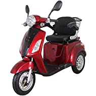 Electric Mobility Scooter Red ZT500 900W 3 Wheeled with Extra Accessories Package: Mobility Scooter Waterproof Cover, Phone Holder, Bottle Holder by Green Power