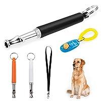 Faburo 3pcs Ultrasons sifflets de dressage de chien avec lanière, Clicker réglable, fréquences, Ensemble de dressage de chien