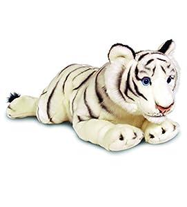 Keel Toys 64843 - Tigre Blanco de Peluche Tumbado, 58 cm