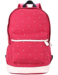 Magideal Dot Casual Canvas Backpack Bag Lightweight Bookbag for Teen Young Girls Red