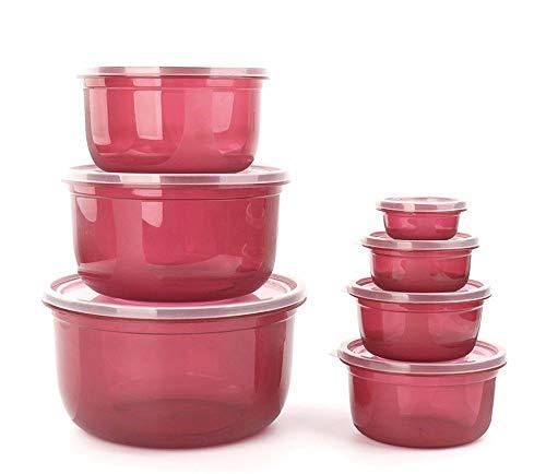 Bei2O brotdose lunch box kühlschrank aufbewahrungsbox kunststoff mikrowelle versiegelt knödel-box obst-box lebensmittel-box 7-teiliges set rote küche erwachsene kinder büro schule (Mikrowelle Knödel)