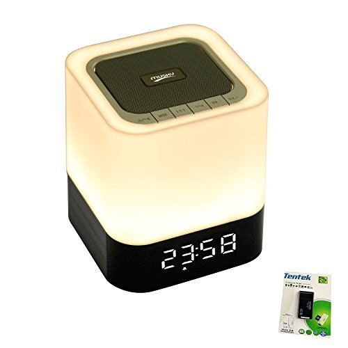 Altavoz Portátil Bluetooth + LED Luz de noche, con visualización LED, Altavoz...