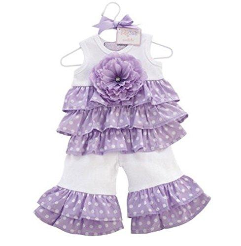 mudpie 192056 Kleid weiß lila mit Hose Purple ruffle set - Mud Kleider Pie