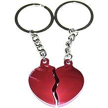 Llavero corazón partido Rosa, regalo parejas, económico, bonito, original